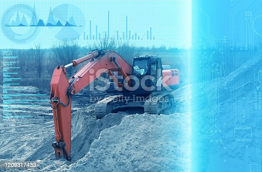 1136415363 istock photo operation of an excavator without human intervention, remote control using artificial intelligence and monitoring the environmental impact of construction on the environment 1209317433