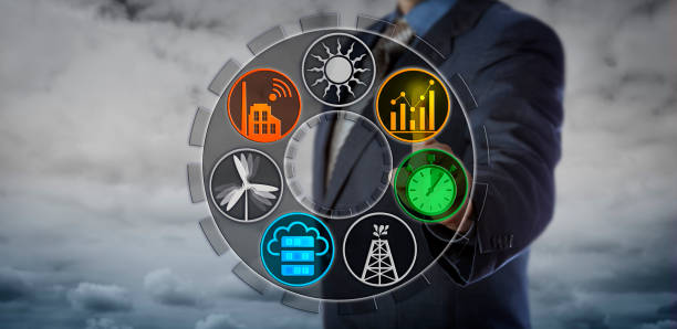 Operator Monitoring Power Network Applications stock photo