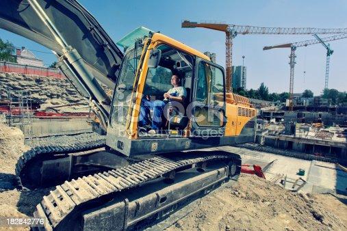 operator operates with  excavator.