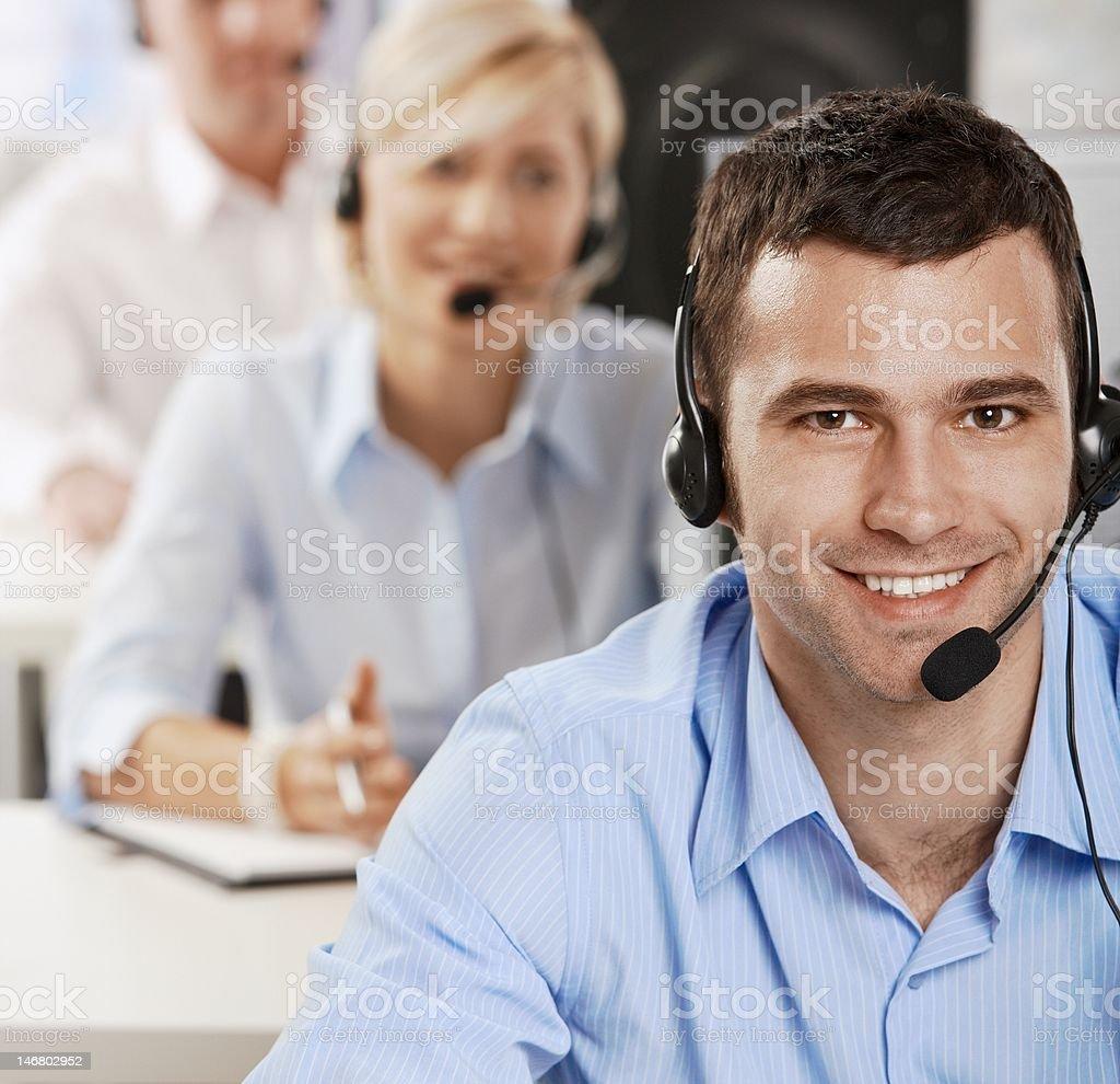 Operator talking on headset royalty-free stock photo