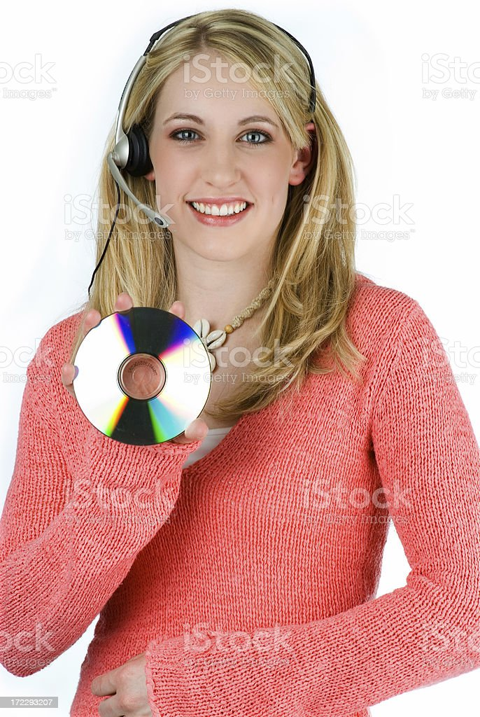 Operator with a Headset Holding Blank CD royalty-free stock photo