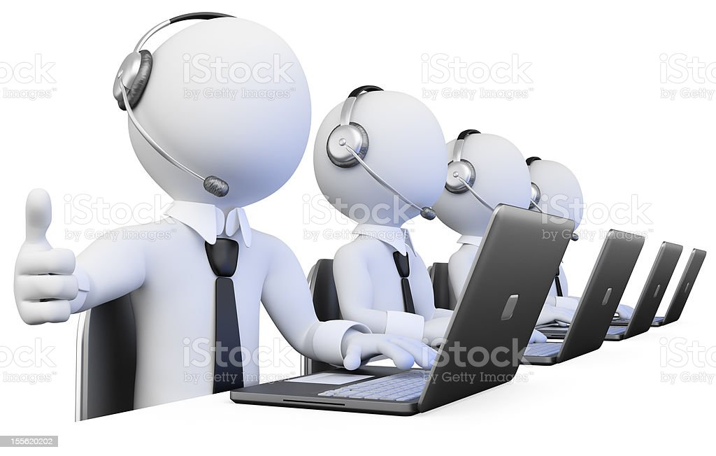 3D operators working in a call center royalty-free stock photo