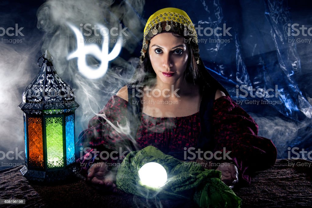 Ophiuchus Horoscope Zodiac Sign with Psychic or Fortune Teller stock photo
