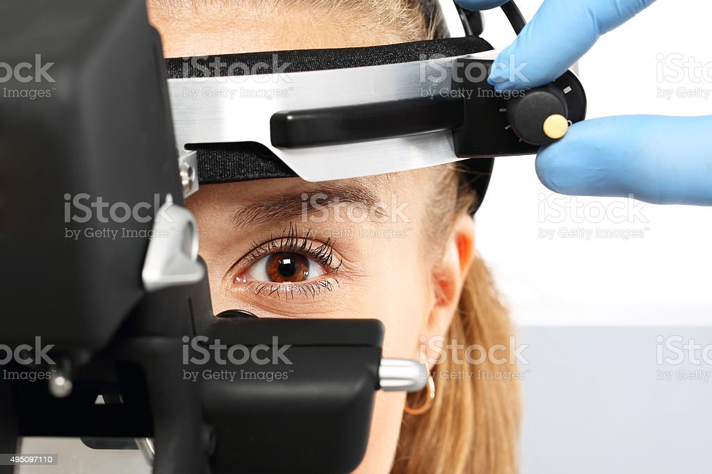 Ophthalmologist - binocular sight glass, ophthalmoscope stock photo