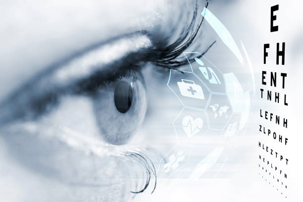 Ophthalmologist concept, checking eyesight with a visit to a specialist stock photo