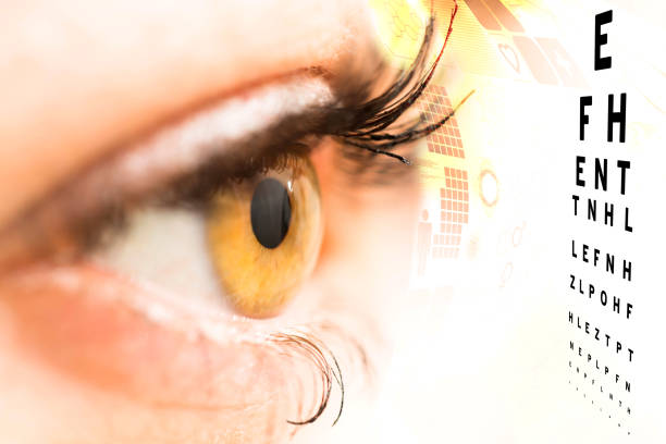 ophthalmologist concept, checking eyesight with a visit to a specialist - defection stock photos and pictures
