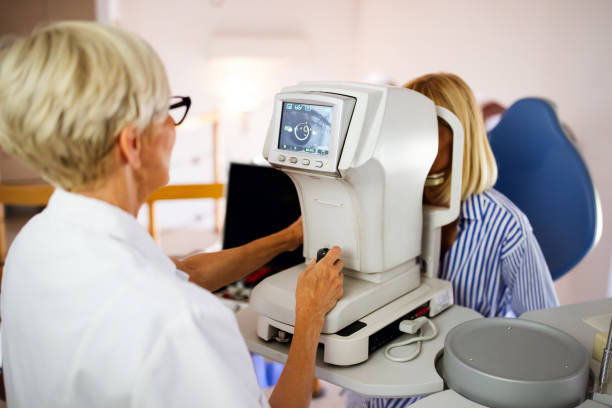 Ophthalmology eyesight diagnostic concept. Modern eye test machine equipment in clinic stock photo