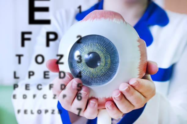 augenheilkunde oculus probe closeup - illustration optician stock-fotos und bilder