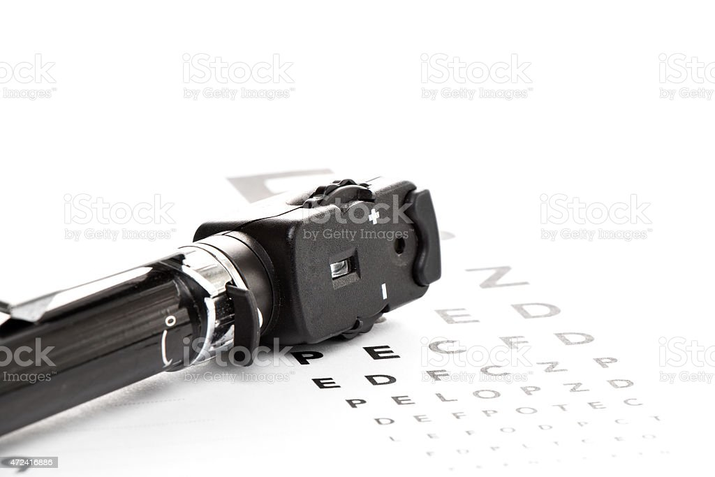 Ophthalmoskop, Augenspiegel, Sehtest stock photo