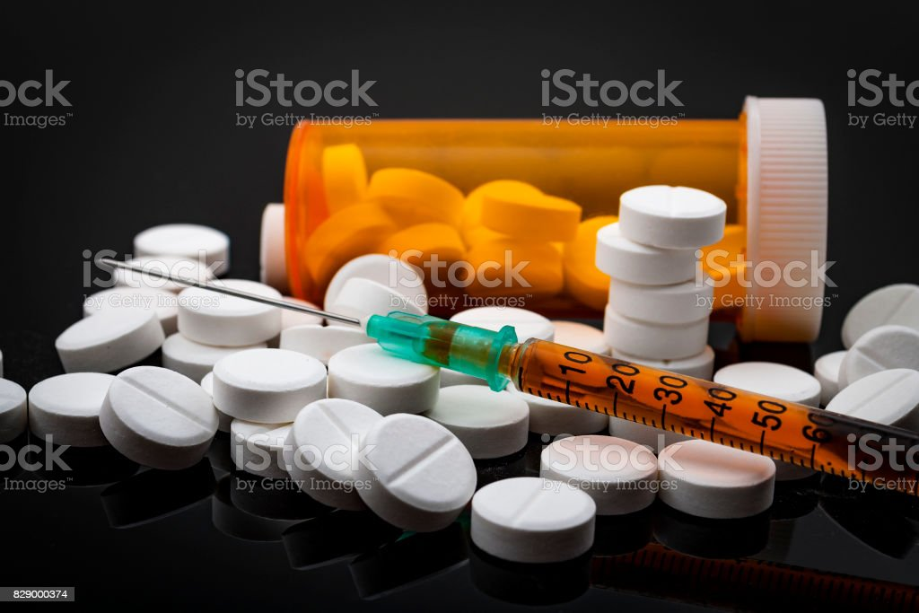 Opioid epidemic and drug abuse concept stock photo