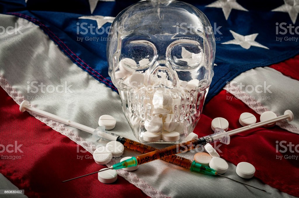 Opioid epidemic or opioid crisis and addiction stock photo