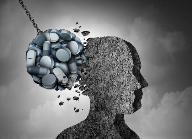 Opioid Epidemic Opioid epidemic health danger and medical crisis with a prescription painkiller addiction concept as a group of pills devastating a patient with 3D illustration elements. epidemic stock pictures, royalty-free photos & images