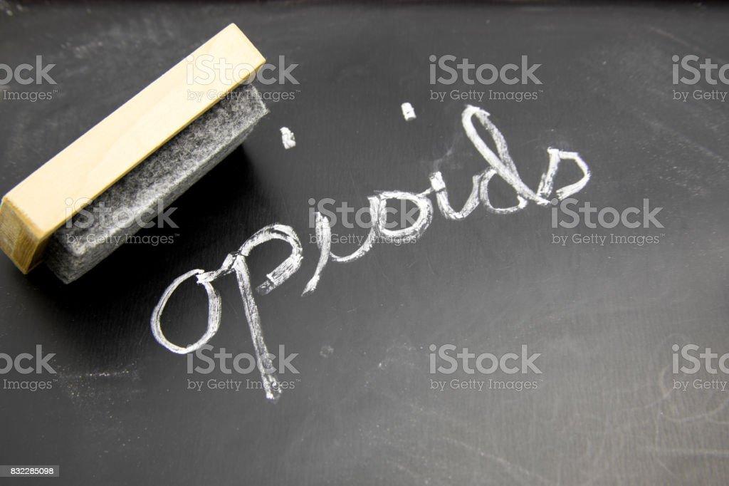 Opioid on blackboard with eraser stock photo