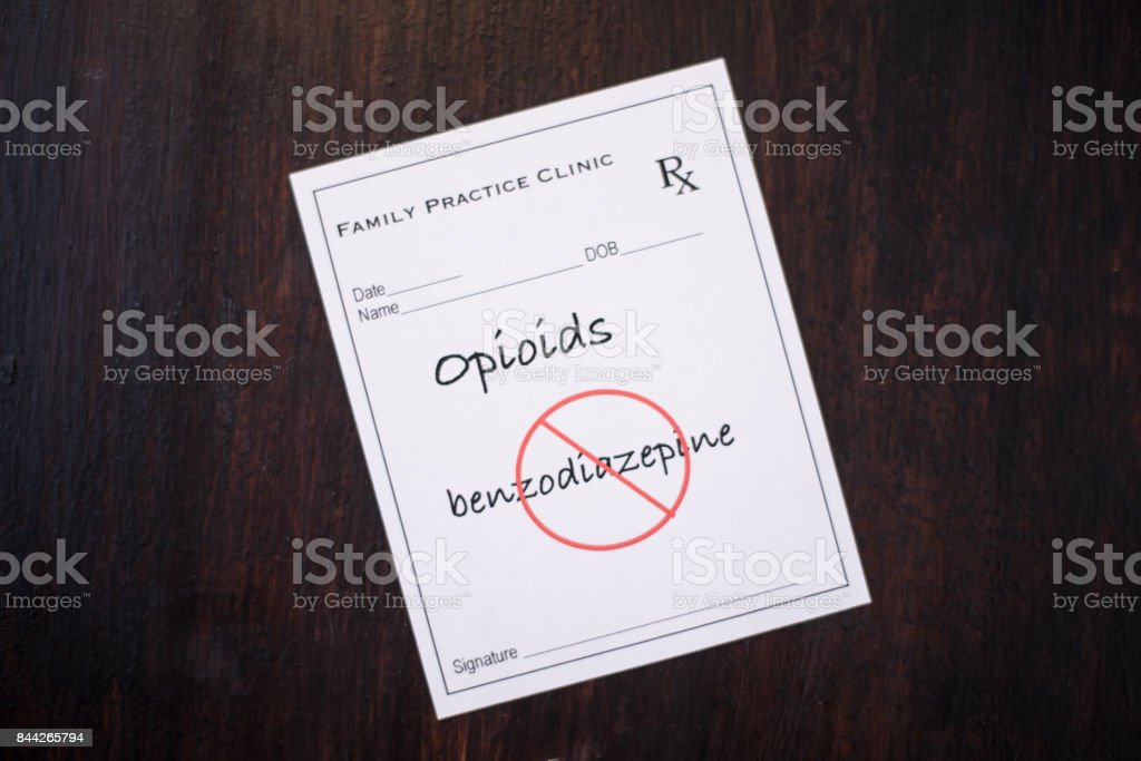 Opioid Prescription - with warning not to prescribe with benzodiazepines stock photo