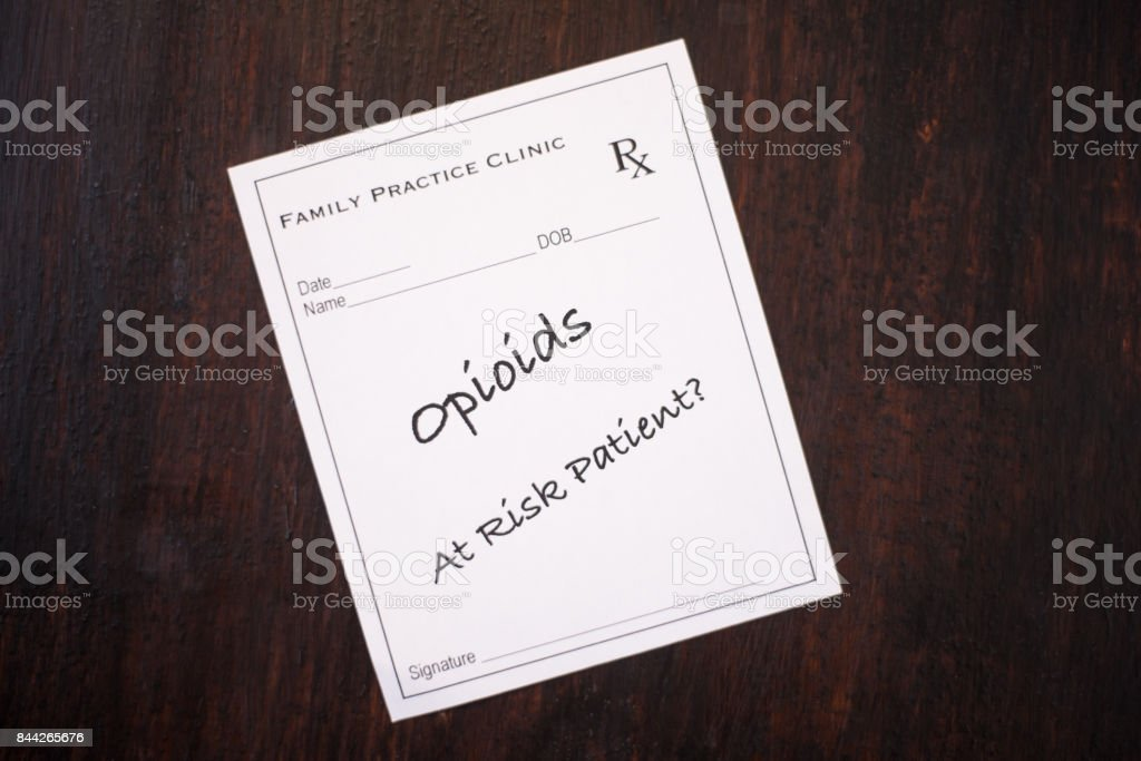 Opioid Prescription  with warning to check if at risk patient stock photo