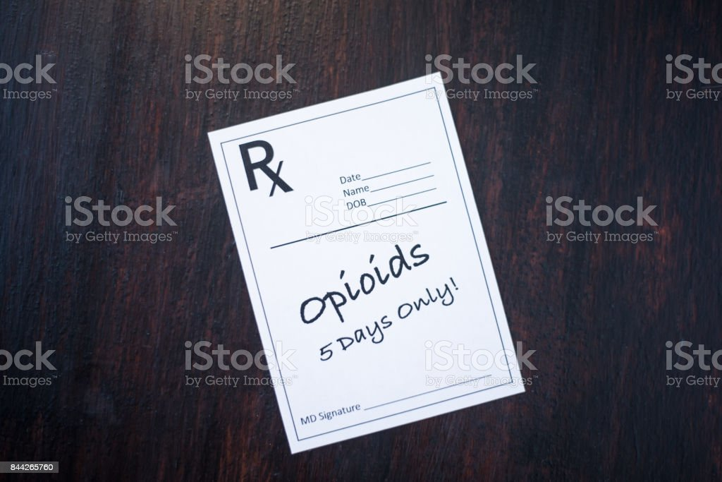 Opioid prescription with warning to prescribe for 5 days only stock photo