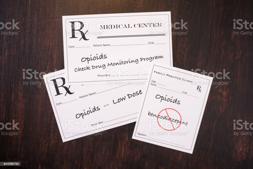 Opioid prescriptions warning of dosage, monitoring usage and contraindications stock photo
