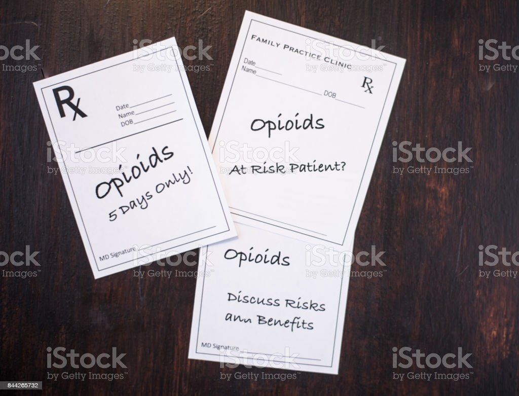Opioid prescriptions with warnings to discuss risks, benefits, at risk patient and short term dose stock photo