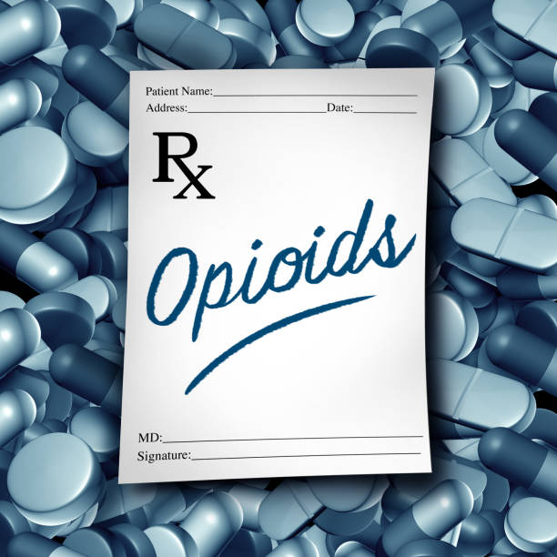 Opioids Doctor Prescription Opioids doctor prescription and opioid health risk medical pills crisis as a prescribed medication painkiller addiction epidemic concept as a 3D illustration elements. opioid stock pictures, royalty-free photos & images
