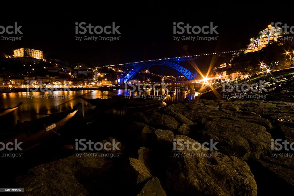 Oporto at Night royalty-free stock photo
