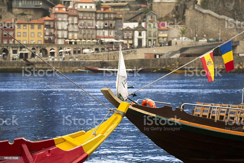 Oporto Rabelo Boats On The Douro royalty-free stock photo