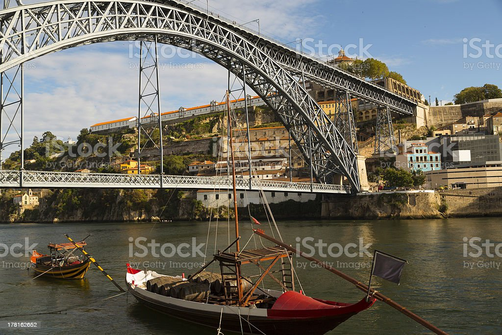 Oporto Rabelo Boats On The Douro royalty-free stock photo