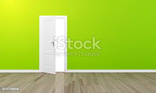istock Oppen door large green wall and wooden floor 514725916