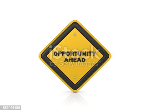 istock Opportunity Ahead Concept Road Sign - 3D Rendering 869456496