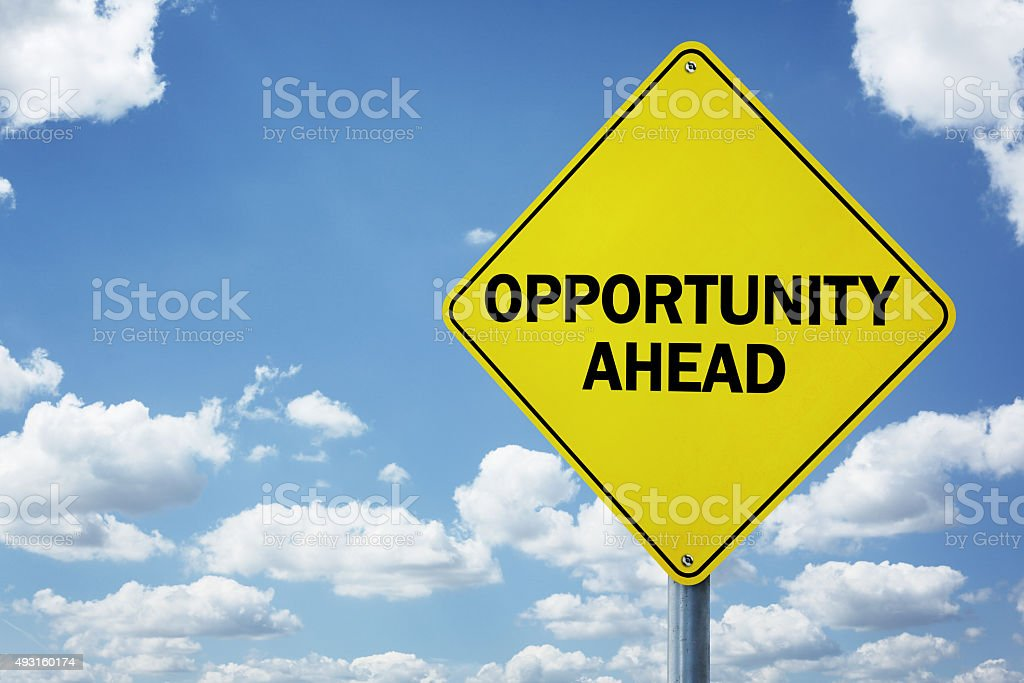 Opportunity ahead road sign stock photo