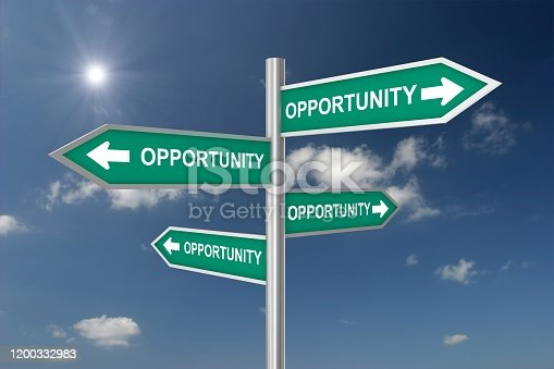 Opportunity direction sign choice concept