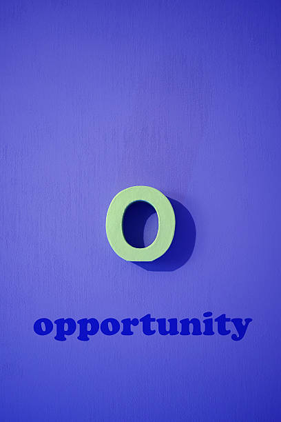Opportunity Word With Purple Background stock photo