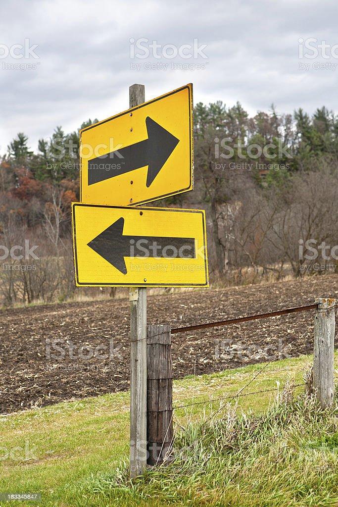 opposite arrows sign stock photo