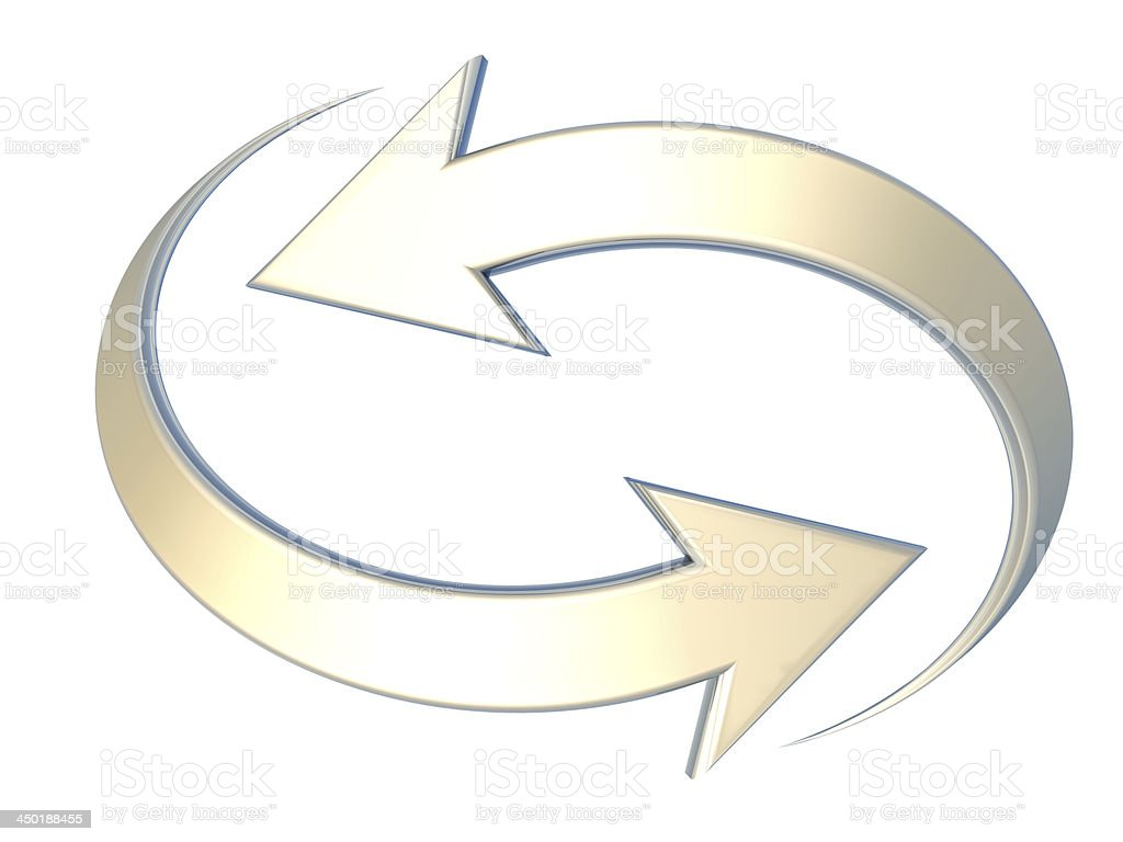 opposite yellow curved arrows stock photo