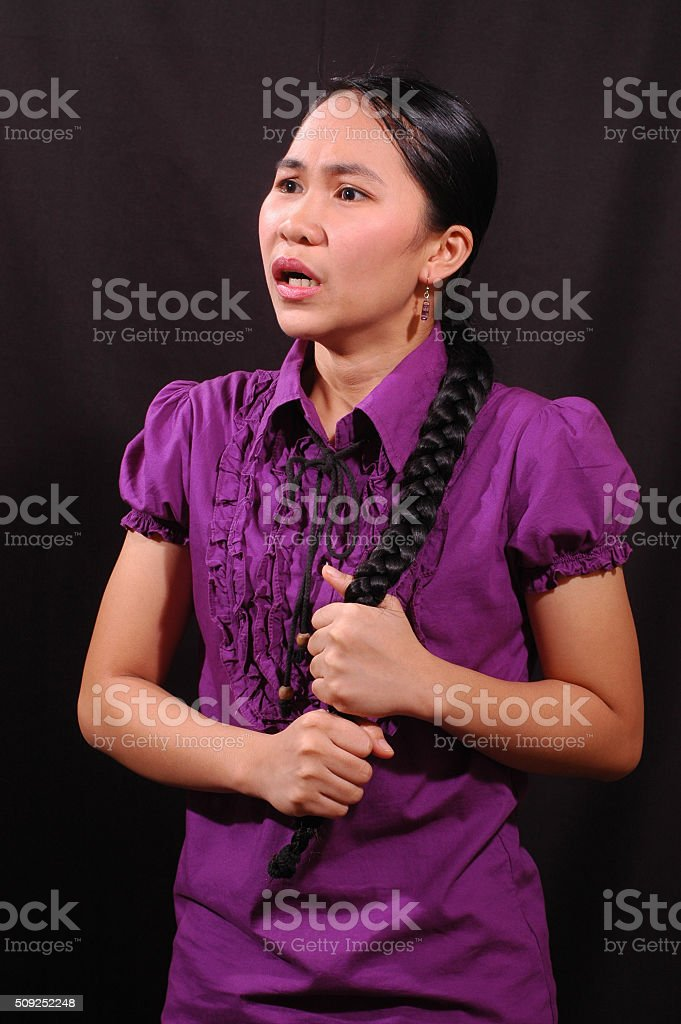 oppressed young woman stock photo
