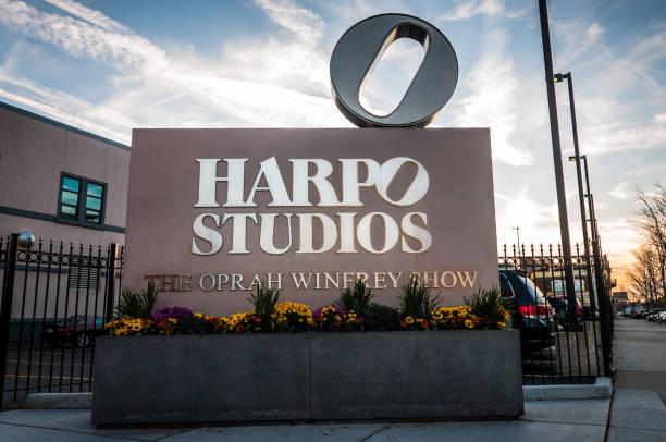 Oprah Winfrey Harpo Studios Sign in Chicago stock photo