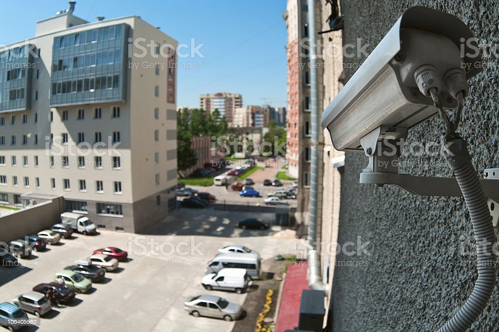 Optical cameras on wall royalty-free stock photo