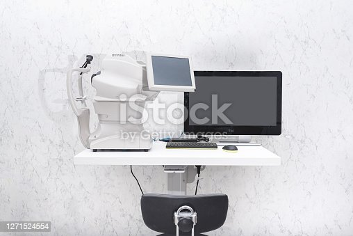 Angiography. Optical CT scan. Ophthalmology clinic equipment. Diagnosis of vision. Tomography in Optical Coherence (OCT) close-up.
