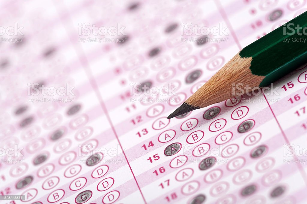 optical form of an examination with pencil and eraser stock photo