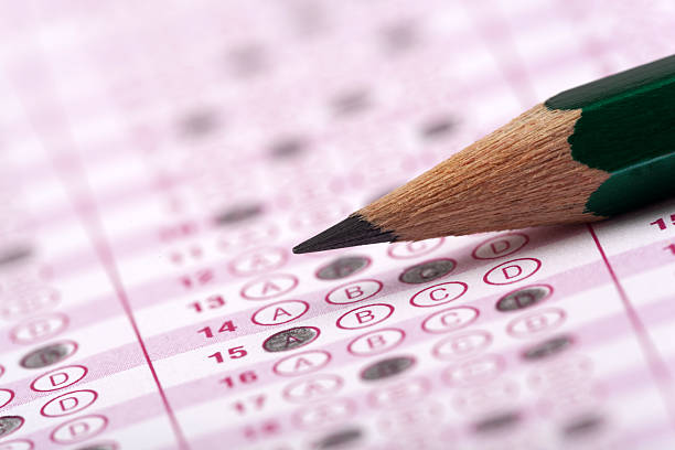 optical form of an examination with pencil optical form of an examinationoptical form of an examination with pencil routine stock pictures, royalty-free photos & images