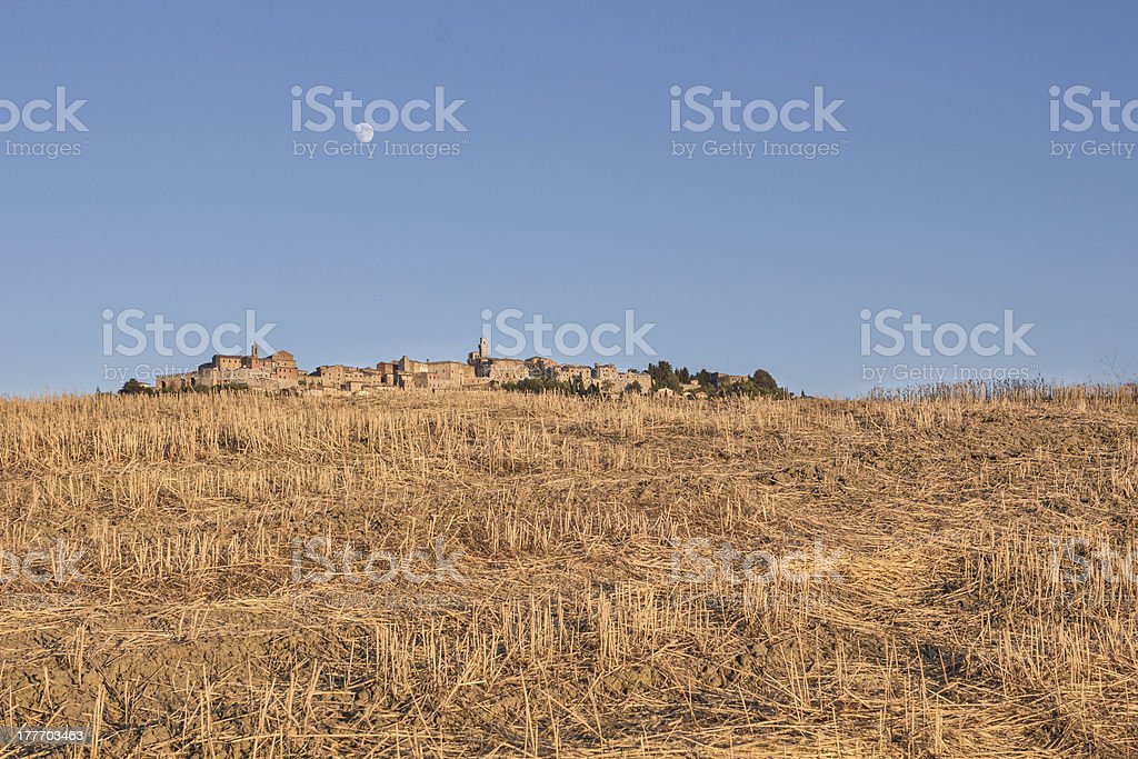 Optical illusion of a village behind the hill stock photo