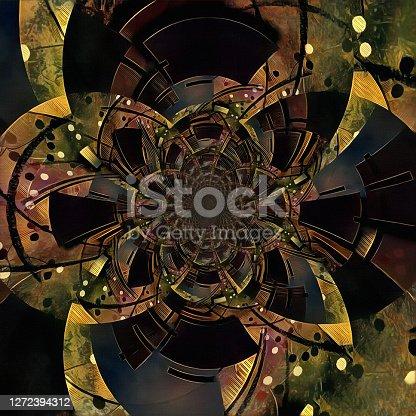 Abstract circles. Art Fractal. 3D rendering