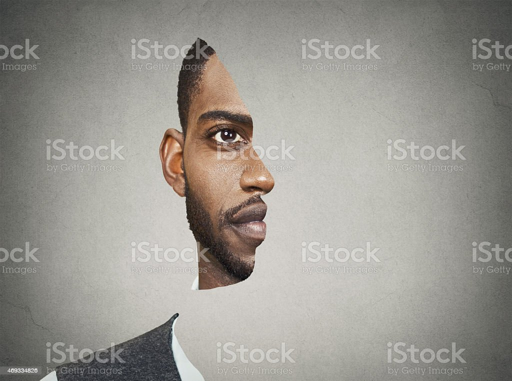 Optical illusion portrait of a man stock photo