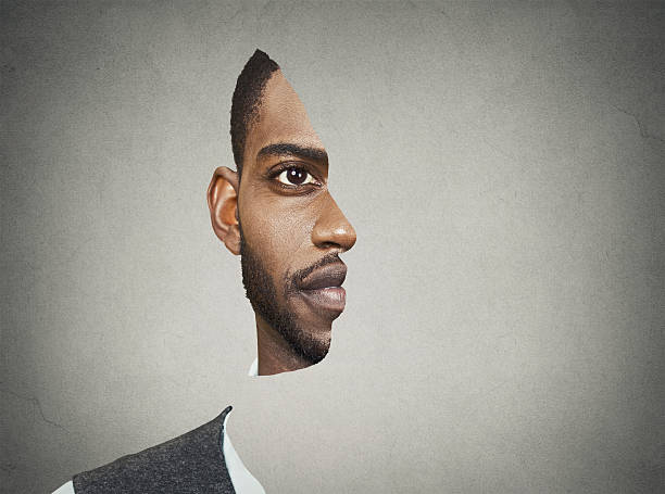 optical illusion portrait of a man - illusion stock photos and pictures