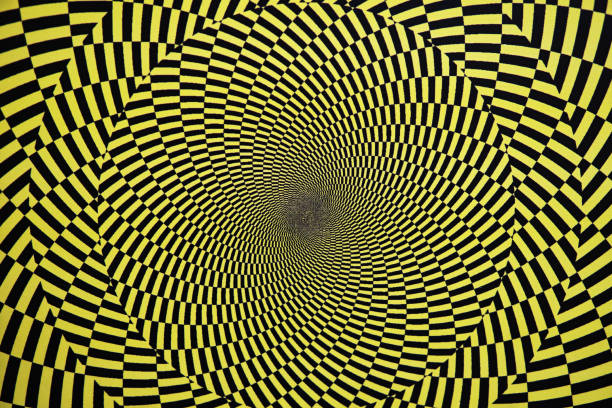 optical illusion with circles - illusion stock photos and pictures