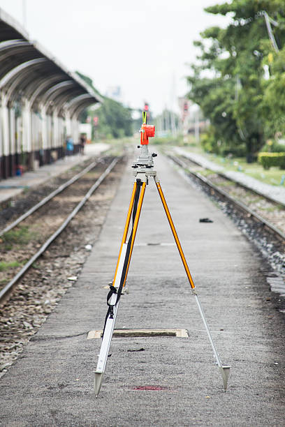 Optical Level Scope with Tripod for for construction site stock photo