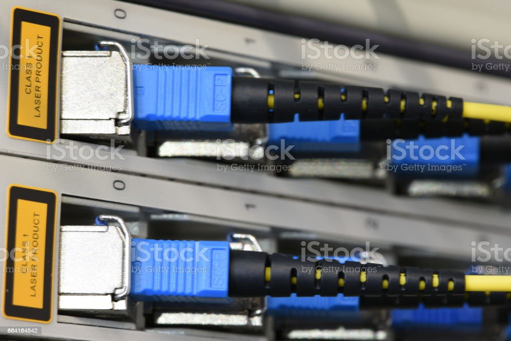 Optical Line Unit with Fiber Optical Network Cables royalty-free stock photo