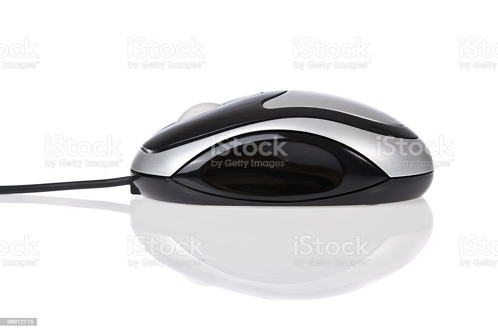 optical mouse with cord isolated on white royalty-free stock photo