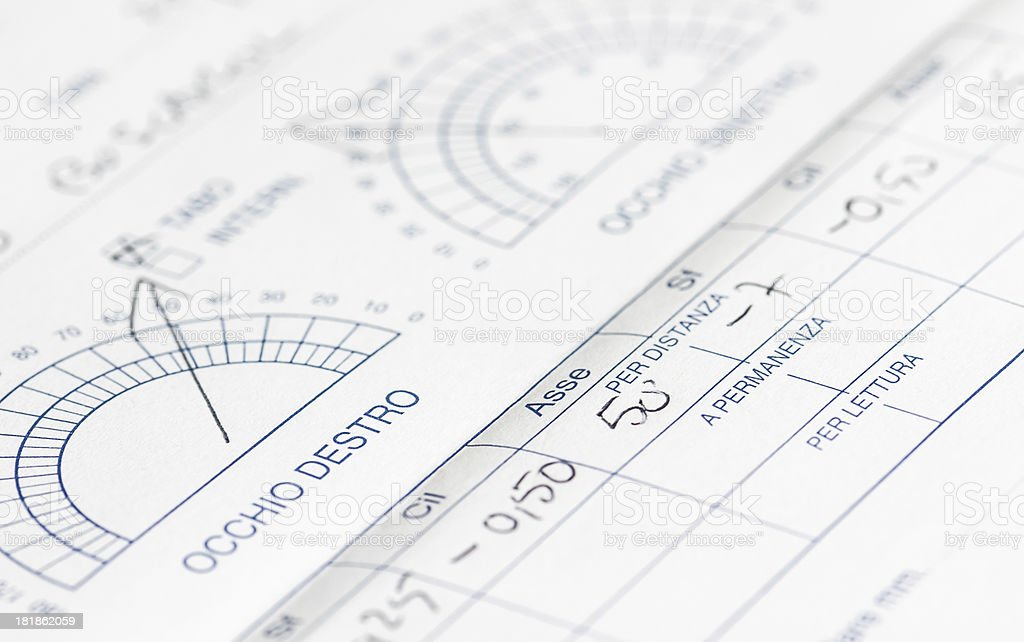 Optician medical prescription stock photo