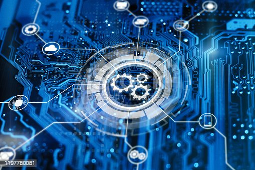Optimisation of business and industrial process workflow and automation. Development of sofware for automatization managment. Gears on virtual screen.