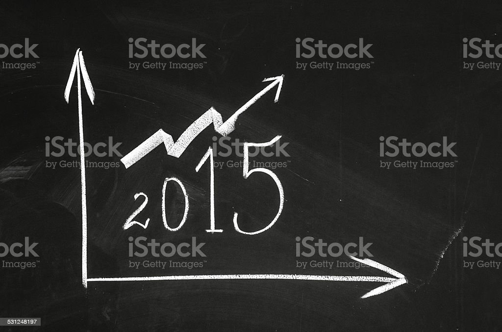 Optimistic 2015 year graph stock photo